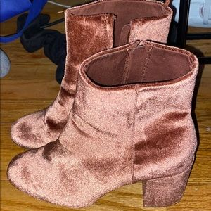 Ankle Length Pink Velvet Booties!